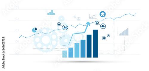 Canvas Print grafico, business, economia, crescita, istogramma,