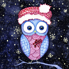 Cute owl in the santas hat and dogberry winter night. Watercolor and digital painting.