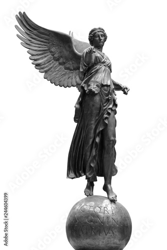 Obraz na płótnie Beautiful young woman angel statue isolated on white background