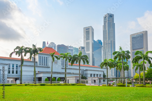 Foto op Plexiglas Stadion Singapore government and modern cityscape