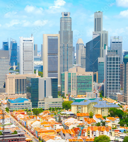 Foto op Canvas Aziatische Plekken Aerial Skyline Singapore Downtown Chinatown