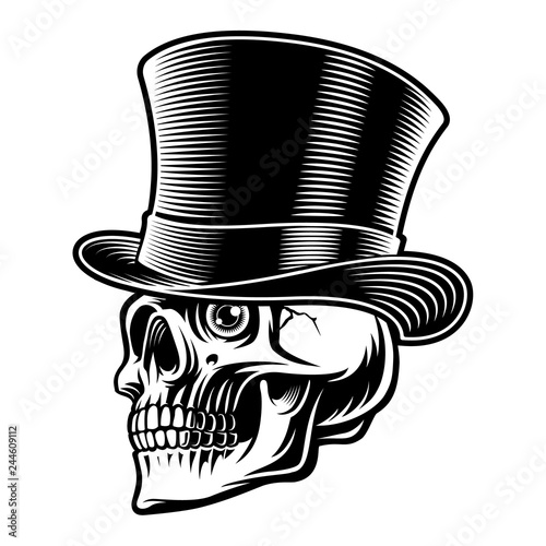 Foto Black and white illustration of a skull in top hat