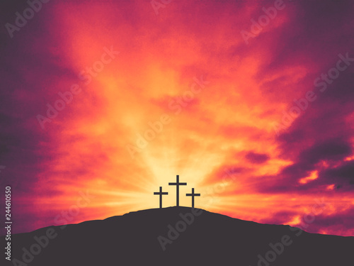 Canvas Print Three Christian Easter Crosses on Hill of Calvary with Colorful Clouds in Sky -