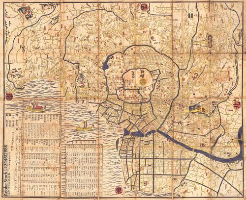 1849, Japanese Map of Edo or Tokyo, Japan Tapéta, Fotótapéta