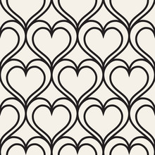 Vector Geometric Pattern. Seamless Linear Pattern With Hearts.