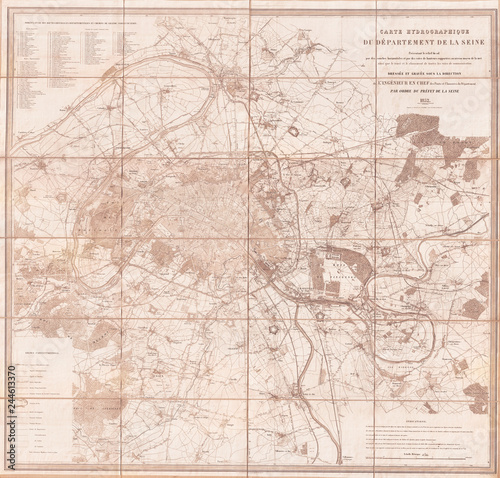 1852, Andriveau Goujon Map of Paris and Environs, France Canvas Print