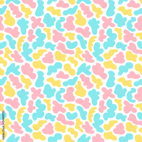 Seamless Abstract Shapes Vector Pattern Hand Drawn Colorful
