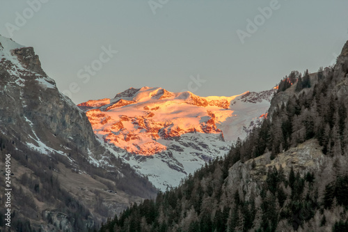 Panoramic view of the Gressoney valley at sunset in winter Canvas Print