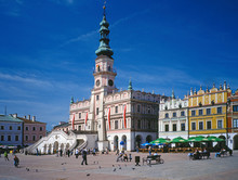 Zamosc Town, Lubelskie Region, Poland - May 2008: Main Square And Town Halli In Old Town In Zamosc