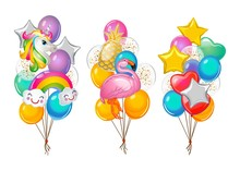 Set Of Cartoon Balloons Bunche...