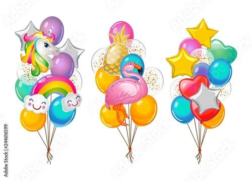 Set of cartoon balloons bunches isolated on white background. Flamingo, unicorn, rainbow and pineapple balloons. Vector illustration