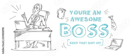 "Photo  Boss day inspirational and motivational greeting card with inscription ""You are an awesome boss!"" and doodles"