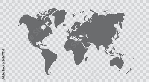 Simplified world map. Stylized vector illustration #244617714