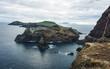 Aerial view of the wild beach and cliffs at Ponta de Sao Lourenco, Madeira islands, Portugal