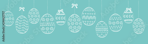 Obraz Wielkanocne pisanki tło girlanda - fototapety do salonu