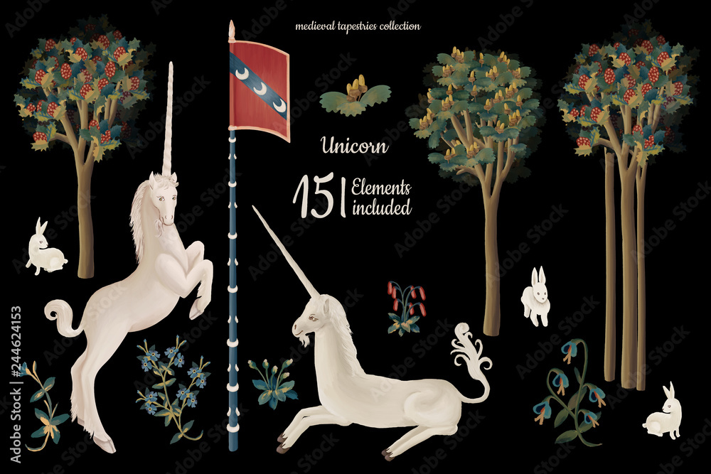 Fototapeta Hand drawn clip art unicorn set in medieval tapestries style on black background
