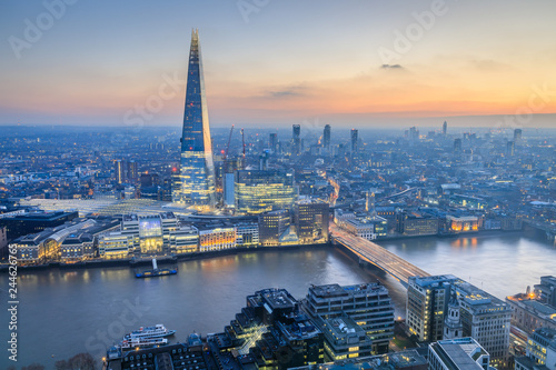 view of London skyline at sunset