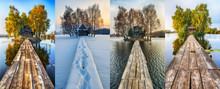 Four Seasons. Hut On A Small Island. Bridge To Hut