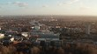 Aerial footage of a European city on a cloudy afternoon