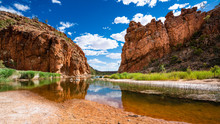 Scenic Panorama Of Glen Helen Gorge In West MacDonnell National Park In Central Outback Australia