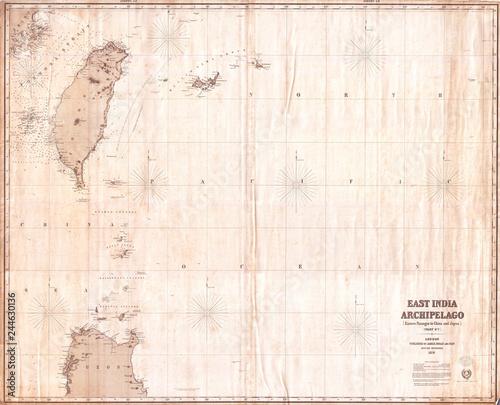 Fotomural  1876, Imray Blue-back Nautical Chart or Map of Taiwan, Formosa, China