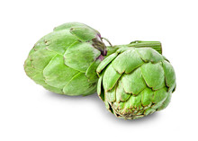Fresh Globe Artichoke Isolated On White Background