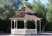 Wooden Gazebo With Stepped Roof Cover With Cedar Shingles