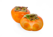 Ripe Persimmon Fruit Isolated On White Background