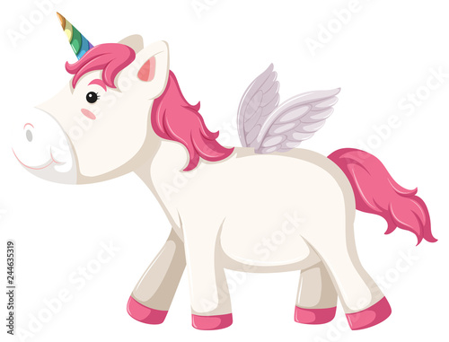 Deurstickers Pony Isolated unicorn character on white background