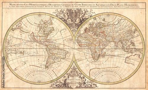 Staande foto Noord Europa 1691, Sanson Map of the World on Hemisphere Projection
