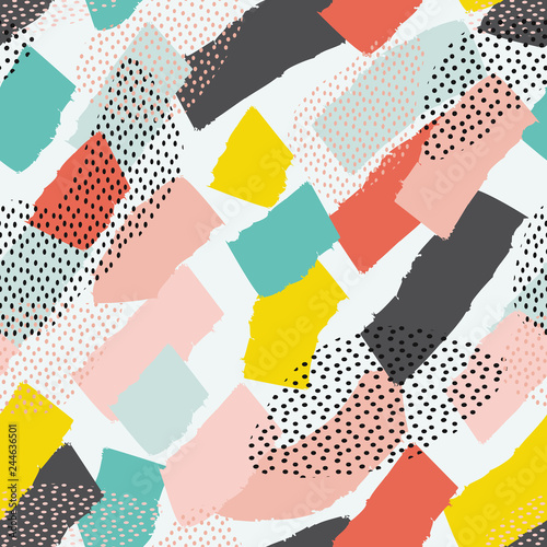 Poster Artificiel Vector seamless pattern with brush strokes in memphis style. Background for printing brochure, poster, party, summer print, vintage textile design, card.
