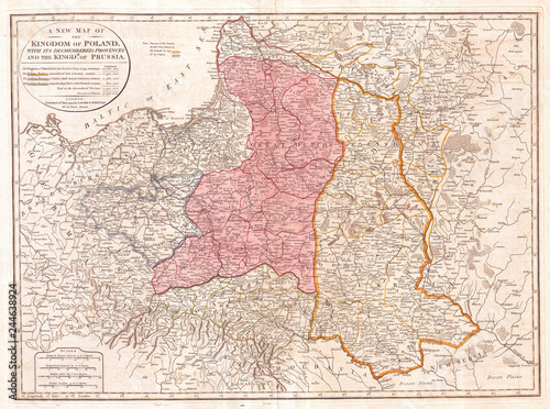 Cuadros en Lienzo  1794, Laurie and Whittle Map of Poland and Lithuania after Second Partition, 179
