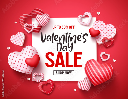 Valentines sale vector banner template Tablou Canvas