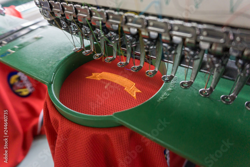 Photo Embroidery machine needle in Textile Industry at Garment Manufacturers, Embroide