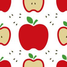 Apple Red Wallpaper Art Cute Funny Vector Illustration Concept