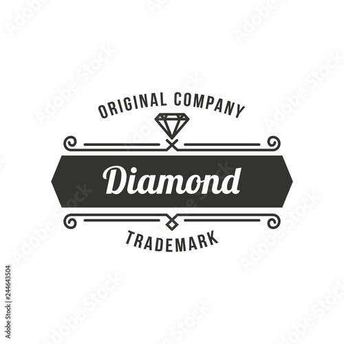 Diamond Logo Concept Retro Vintage Insignia Logotype Label Or