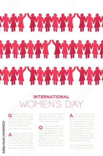 Paper chain women shape, International Women's Day concept