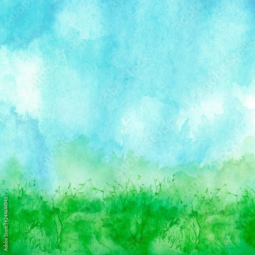 Foto auf AluDibond Licht blau Watercolor blue, green background, blot, blob, splash of blue, green paint. Watercolor blue, green sky, spot, abstraction. Wild grass, bushes, country abstract landscape. Watercolor card, banner.