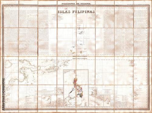 1852, Coello, Morata Case Map of the Philippines No. 3 Canvas Print