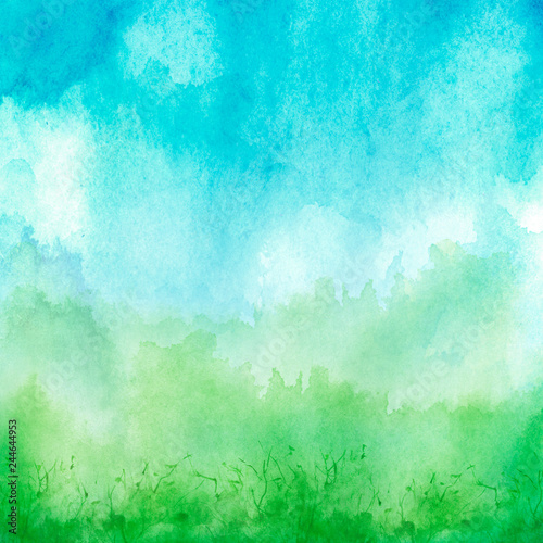Poster Turquoise Watercolor blue, green background, blot, blob, splash of blue, green paint. Watercolor blue, green sky, spot, abstraction. Wild grass, bushes, country abstract landscape. Watercolor card, banner.