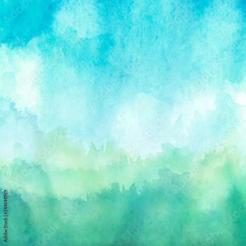 Photo Stands Turquoise Watercolor blue, green background, blot, blob, splash of blue, green paint. Watercolor blue, green sky, spot, abstraction. Wild grass, bushes, country abstract landscape. Watercolor card, banner.