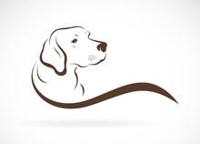Vector Of Dog Head(labrador) On White Background., Pet. Animals.
