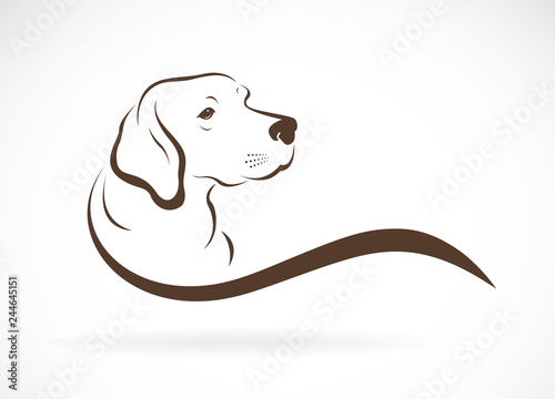 Obraz na plátně Vector of dog head(labrador) on white background., Pet. Animals.