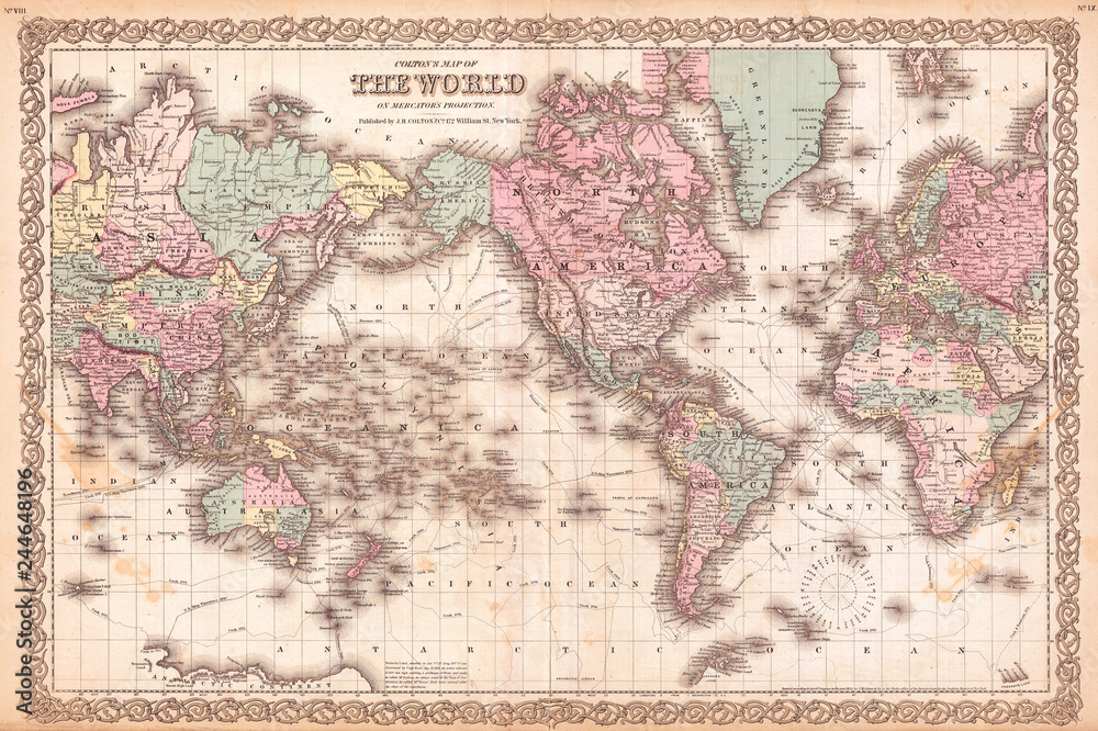 Fototapety, obrazy: 1855, Colton Map of the World on Mercator Projection