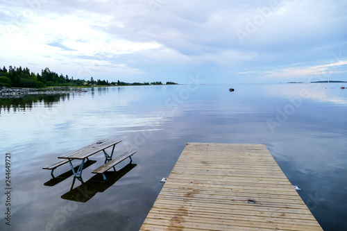 Foto op Canvas Noord Europa pier on the lake, in Sweden Scandinavia North Europe
