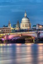 St Pauls Cathedral An Blackfriars Bridge In London At Dusk