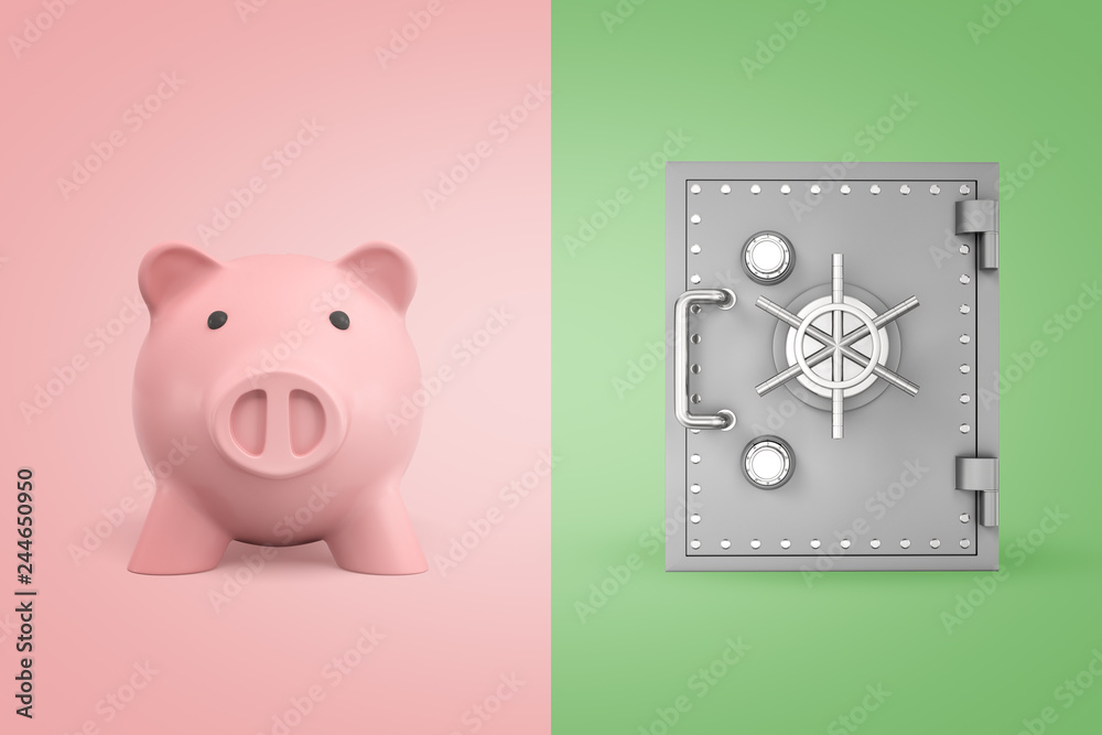 Fototapeta 3d rendering of a cute piggy bank on pink background and of a safe on light-green background.