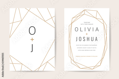 Fototapeta Luxury wedding invitation cards with gold marble texture and geometric pattern minimal style vector design template obraz