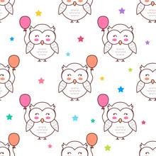 Owls With Balloons, Cartoon Ve...