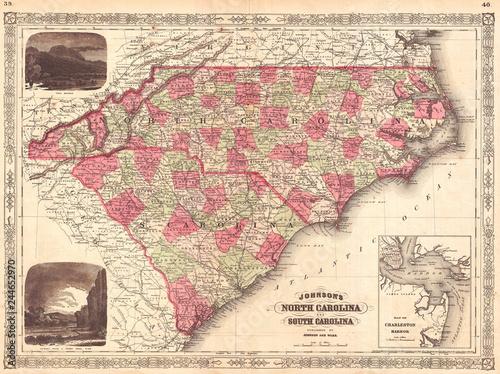 1866, Johnson Map of North Carolina and South Carolina ...